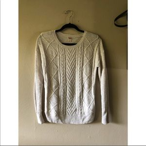Mossimo White Cable Knit Sweater